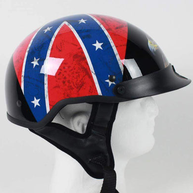 DOT Rebel Flag and Eagle Motorcycle Shorty Helmet - SKU USA-1RF-HI - USA Biker Leather