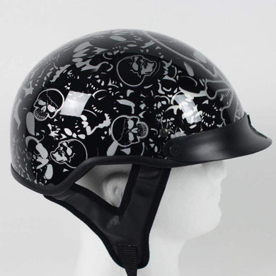 DOT Gloss Black Boneyard Motorcycle Shorty Helmet - SKU USA-1VBYB-HI - USA Biker Leather