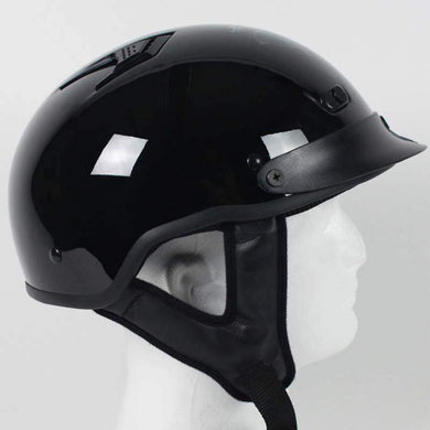 DOT Gloss Black Motorcycle Shorty Helmet / SKU GRL-1VGB-HI