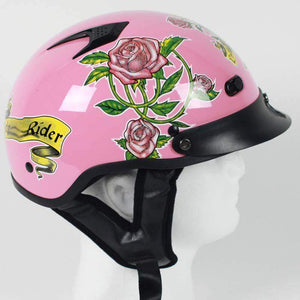 DOT Pink Lady Rider Motorcycle Shorty Helmet / SKU GRL-1VPR-HI
