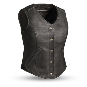 The Derringer - Women's Concealed Leather Motorcycle Vest - USA Biker Leather