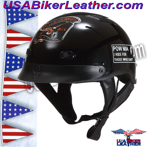 DOT POW MIA Motorcycle Helmet / Never Forget / SKU USA-1VPOW-HI - USA Biker Leather - 1