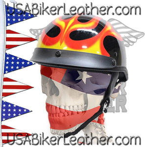 DOT Flames On Gloss Black Motorcycle Helmet / SKU USA-200-FLAME-DL - USA Biker Leather