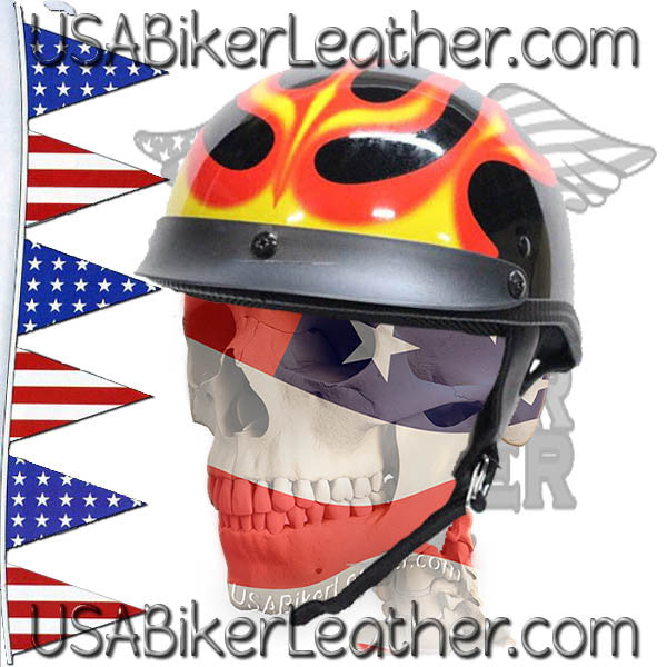 DOT Flames On Gloss Black Motorcycle Helmet / SKU USA-200-FLAME-DL - USA Biker Leather - 1