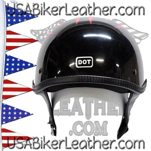 DOT Flames On Gloss Black Motorcycle Helmet / SKU USA-200-FLAME-DL - USA Biker Leather - 3