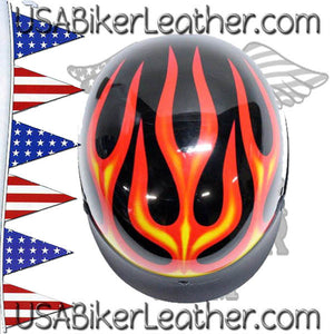 DOT Flames On Gloss Black Motorcycle Helmet / SKU USA-200-FLAME-DL - USA Biker Leather - 2
