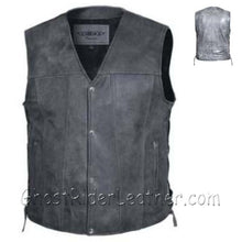 Mens Big Size Tombstone Gray Leather Vest - SKU USA-2611.GN-UN - USA Biker Leather