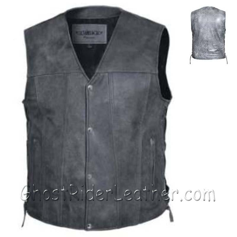 Mens Big Size Tombstone Gray Leather Vest - SKU USA-2611.GN-UN