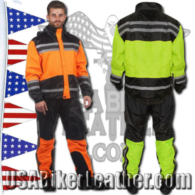 Mens Two Tone Hooded Rain Suit, in Green or Orange / SKU USA-2713.16-Orange-UN USA-2713-11-Green-UN - USA Biker Leather