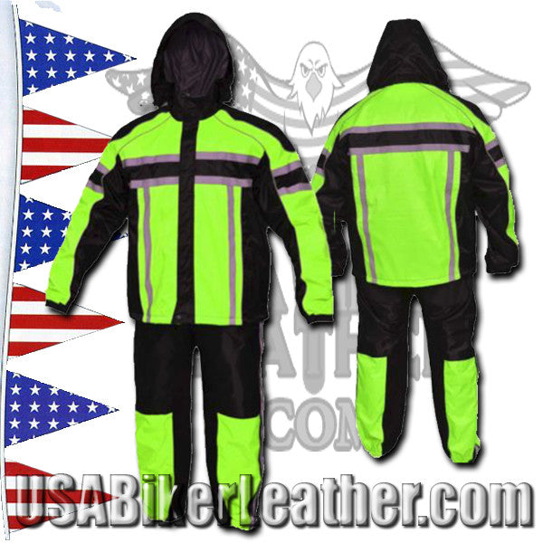 Mens Two Tone Hooded Rain Suit with Reflective Stripes / SKU USA-2714.11-UN - USA Biker Leather