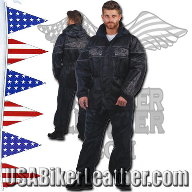 Mens Reflective Skulls and Piping Rain Suit / SKU USA-2729.00-UN - USA Biker Leather