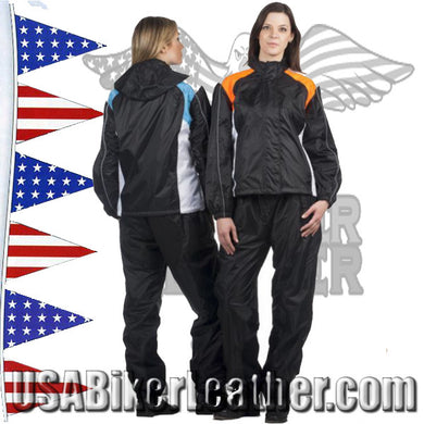 Ladies Two Tone Rain Suit with Reflective Piping / SKU USA-2755.50-TEAL-UN / USA-2755.16-ORANGE-UN - USA Biker Leather