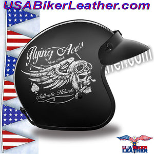 DOT Daytona Cruiser Flying Aces Open Face Motorcycle Helmet / SKU USA-DC6-FAC-DH - USA Biker Leather - 5