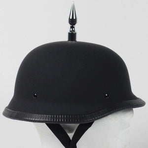 3 Inch Spike German Novelty Motorcycle Helmet Flat or Gloss / SKU GRL-3INCH-SPIKE-GERMAN-NOV-HI - Ghost Rider Leather