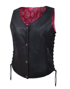 UNIK LADIES VEST WITH HOT PINK PAISLEY LINER - USA Biker Leather