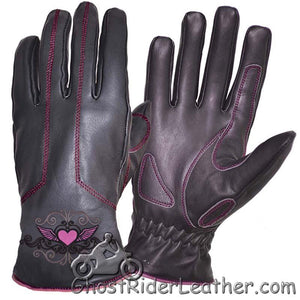 Ladies Full Finger Leather Motorcycle Riding Gloves With Hot Pink Stitching - SKU GRL-8144.24-UN-leather riding gloves-Ghost Rider Leather