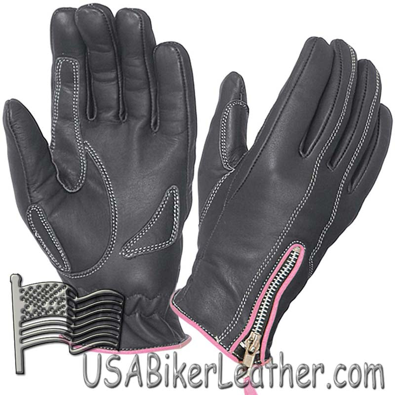 Ladies Full Finger Leather Motorcycle Riding Gloves With Hot Pink Piping - SKU USA-8261.24-UN