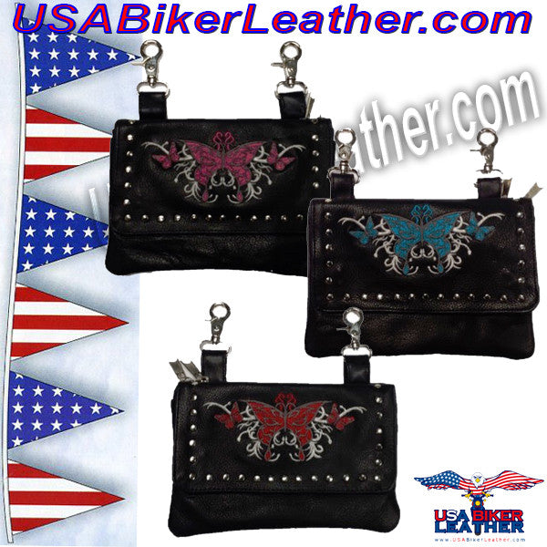 Clip On Bags with Butterfly Design and Studs in Choice of Colors / SKU USA-9700-UN - USA Biker Leather