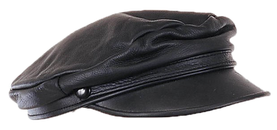 Biker Leather Cap - One Size Fits Most - SKU USA-AC003-DL