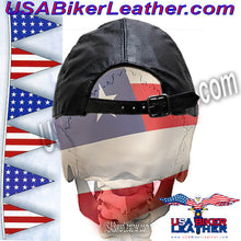Leather Baseball Cap with Adjustable Back / SKU USA-AC006-DL - USA Biker Leather - 2