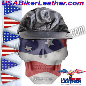 Leather Baseball Cap with Adjustable Back / SKU USA-AC006-DL - USA Biker Leather - 1