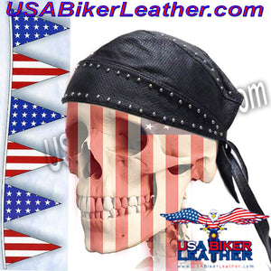 Leather Skull Cap with Studs / SKU USA-AC007-13-DL - USA Biker Leather - 2