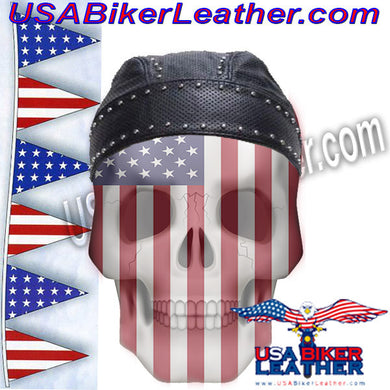Leather Skull Cap with Studs / SKU USA-AC007-13-DL - USA Biker Leather