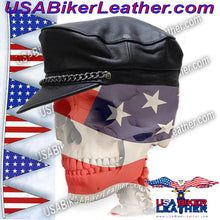 Leather Cap with Chain / SKU USA-AC008-DL - USA Biker Leather - 3