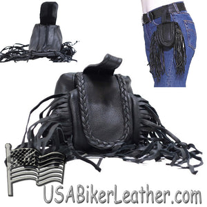 Ladies Leather Folding Pouch With Braid and Fringe - Belt Bag - SKU USA-AL1005-DL
