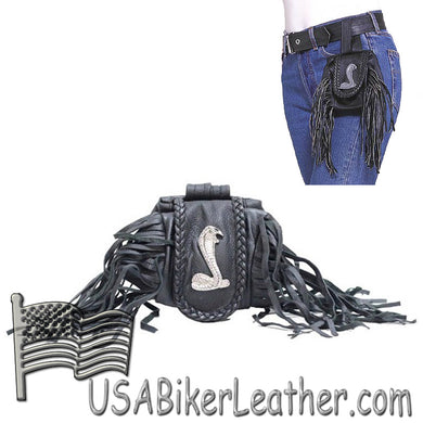 Ladies Leather Cobra Folding Pouch With Fringe - Belt Bag - SKU USA-AC1007-DL