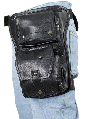 Mens Thigh Bag - Black Leather Multi Pocket Thigh Bag with Gun Pocket - SKU USA-AC1025-11-DL