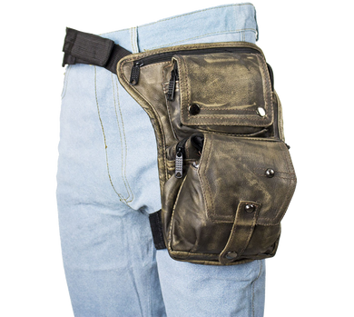 Mens Thigh Bag - Distressed Brown Leather Multi Pocket Thigh Bag with Gun Pocket - SKU USA-AC1025-12-DL