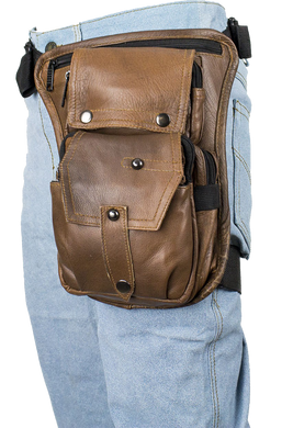 Mens Thigh Bag - Brown Leather Multi Pocket Thigh Bag with Gun Pocket - SKU USA-AC1025-BRN-DL
