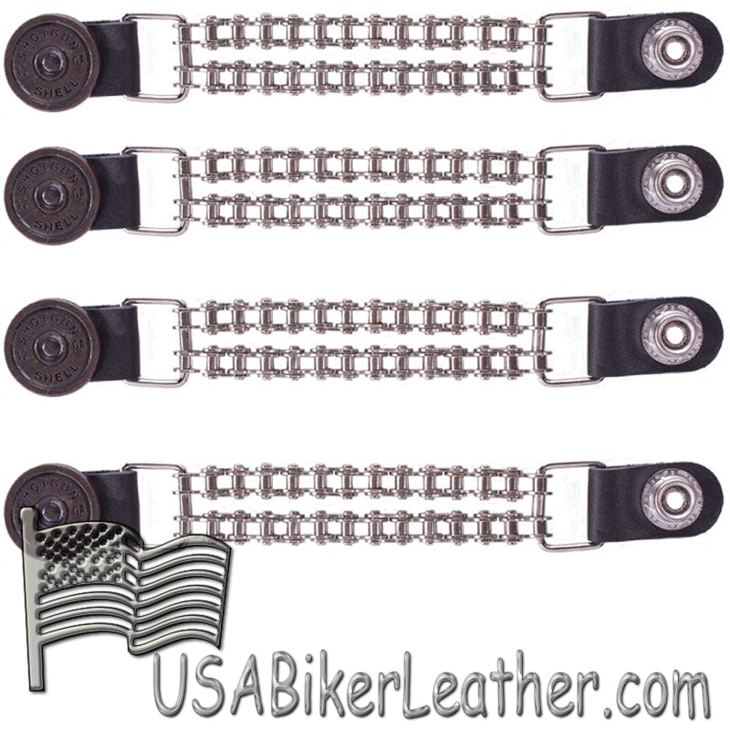 Set of Four Shotgunn Shell Vest Extenders with Chrome Motorcycle Chain - SKU USA-AC1045-BC-DL