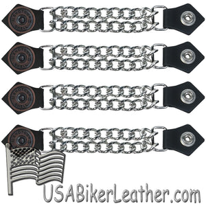 Set of Four Shotgunn Shell Vest Extenders with Chrome Chain - SKU USA-AC1045-DL - USA Biker Leather