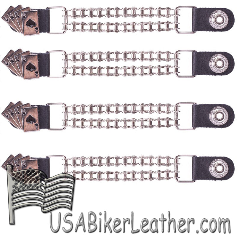 Set of Four Deadmans Hand Vest Extenders with Chrome Motorcycle Chain - SKU USA-AC1046-BC-DL
