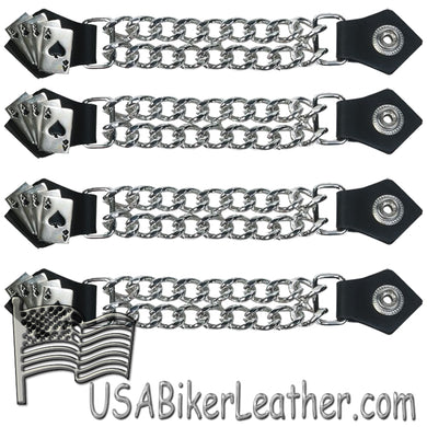 Set of Four Deadmans Hand Vest Extenders with Chrome Chain - SKU USA-AC1046-DL - USA Biker Leather