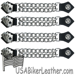 Set of Four Deadmans Hand Vest Extenders with Chrome Chain - SKU USA-AC1046-DL
