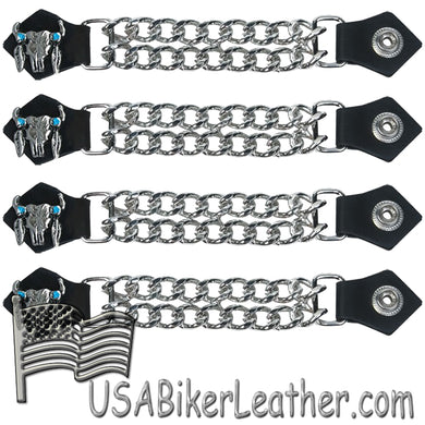 Set of Four Steer Skull Vest Extenders with Chrome Chain - SKU USA-AC1047-DL - USA Biker Leather