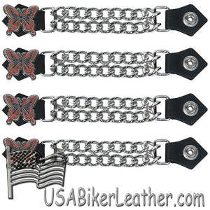 Set of Four Butterfly Vest Extenders with Chrome Chain - SKU USA-AC1048-DL - USA Biker Leather