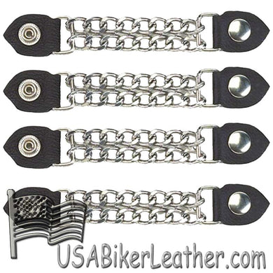 Set of Four Plain Snap On Vest Extenders with Chrome Chain - SKU USA-AC1050-DL - USA Biker Leather
