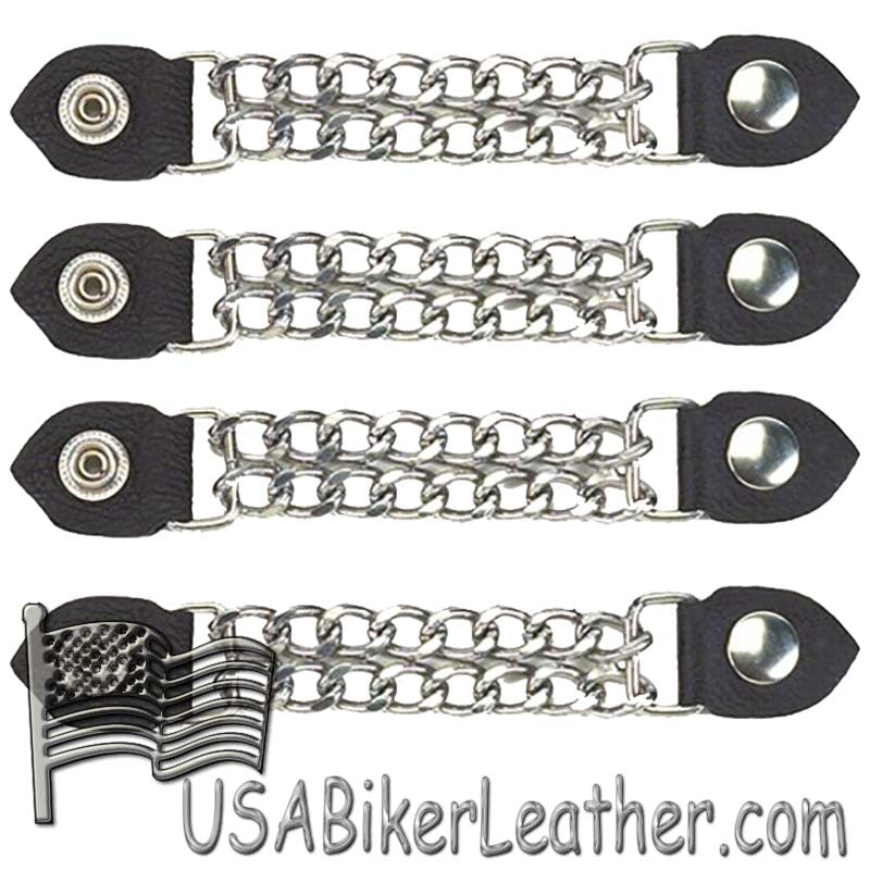 Set of Four Plain Snap On Vest Extenders with Chrome Chain - SKU USA-AC1050-DL