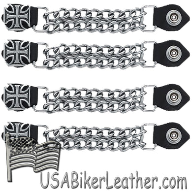 Set of Four Iron Cross Vest Extenders with Chrome Chain / SKU USA-AC1053-DL