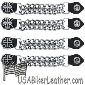 Set of Four Iron Cross Vest Extenders with Chrome Chain / SKU USA-AC1053-DL - USA Biker Leather