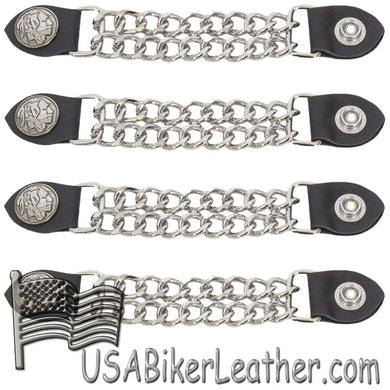 Set of Four Indian Head Nickel Vest Extenders with Chrome Chain - SKU USA-AC1054-DL - USA Biker Leather