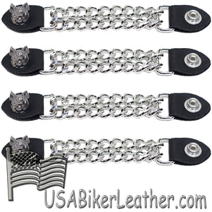 Set of Four Smiling Hog Vest Extenders with Chrome Chain - SKU USA-AC1055-DL - USA Biker Leather