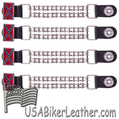 Set of Four Rebel Flag Vest Extenders with Bike Chain Design - SKU USA-AC1057-BC-DL - USA Biker Leather