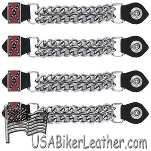 Set of Four Rebel Flag Vest Extenders with Chrome Chain - SKU USA-AC1057-DL - USA Biker Leather