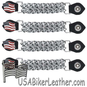 Set of Four USA Flag Vest Extenders with Chrome Chain - SKU USA-AC1058-DL - USA Biker Leather
