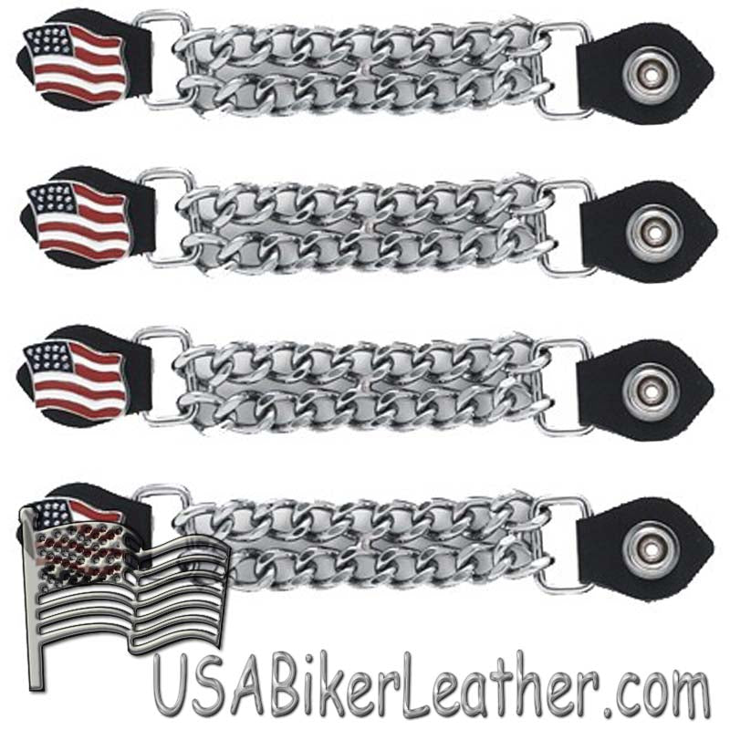 Set of Four USA Flag Vest Extenders with Chrome Chain - SKU USA-AC1058-DL